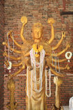 Golden Guanyin with Thousand Arms Royalty Free Stock Images