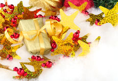 Golden Guft with Christmas Decoration Stock Images