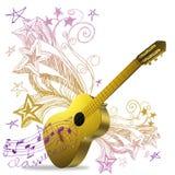 Golden guitar Stock Photography