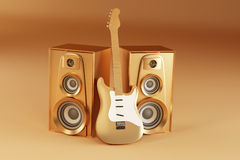 Golden guitar and louspeakers on yellow background Stock Photos