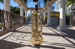 Golden guitar in Miami Royalty Free Stock Image