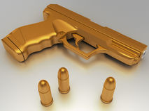 Golden gun with bullet Royalty Free Stock Image