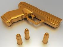 Golden gun with bullet. Golden gun with golden bullet - computer generated image (3d render Royalty Free Stock Image