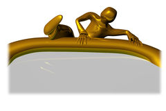 Golden guy over placard Royalty Free Stock Photo
