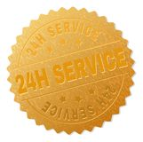 Golden 24H SERVICE Medal Stamp. 24H SERVICE gold stamp seal. Vector golden medal of 24H SERVICE text. Text labels are placed between parallel lines and on circle Royalty Free Stock Photography