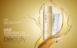 Golden hair oil ads. Beautiful essential oil splashing on the cosmetic bottle in 3D illustration royalty free illustration