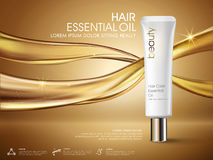 Golden hair oil ads Royalty Free Stock Photography