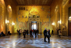 Golden hall of the Stockholm City Hall Stock Images