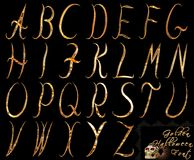 Golden halloween font set on isolated and transparent background. Capital letters stock illustration