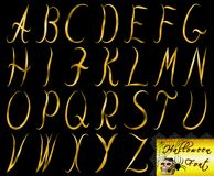 Golden halloween font set on isolated and transparent background. Capital letters vector illustration