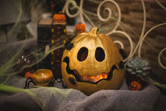 Golden halloween pumpkin autumn decor Stock Image