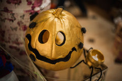 Golden halloween pumpkin autumn decor Royalty Free Stock Image