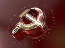 Golden hammer and sickle with fracturesglowing edges on high tech dark red background. News Id style background Royalty Free Stock Photos