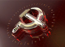 Golden hammer and sickle with fracturesglowing edges on high tech dark red background. News Id style background Stock Photos