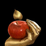 Golden hand and apple Stock Photography