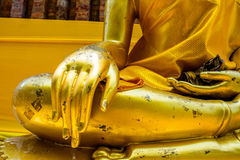 Golden hand Buddha. Close Royalty Free Stock Photography