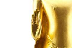 Golden hand buddha statue on white background Stock Photo