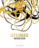 Golden hand-drawn design elements. Vector templates for posters, flyers, brand, brochure. Golden, black, white Stock Photos