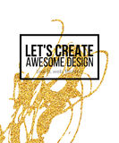 Golden hand-drawn design elements. Vector templates for posters, flyers, brand, brochure. Golden, black, white Royalty Free Stock Photos