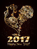 Golden hand drawn ornate rooster silhouette with Happy New Year sign and gold confetti. Chinese symbol of 2017 new year Stock Images