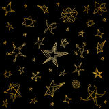 Golden Hand Drawn Set of Stars. Children Drawings of Funny Stars. Doodle Style. Vector Illustration Stock Photography
