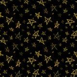 Golden hand-drawn stars on night sky, seamless pattern. Golden hand-drawn stars on dark night sky, seamless pattern stock illustration