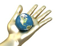 Golden hand with earth Stock Photo