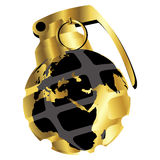 Golden hand grenade. Stylized hand grenade with globe map in gold Royalty Free Stock Image