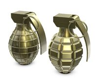 Golden hand grenades. Hand grenades isolated on white with clipping paths vector illustration