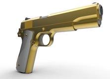 Golden hand gun Stock Photography