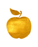 Golden hand-painted apple on white background Royalty Free Stock Image