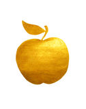 Golden hand-painted apple on white background Royalty Free Stock Photography