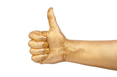 Golden hand show a gesture Royalty Free Stock Photos