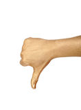 Golden hand shows thumb down. Golden hand shows  thumb down over white Stock Images
