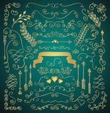 Golden Hand Sketched Rustic Floral Design Elements Stock Images