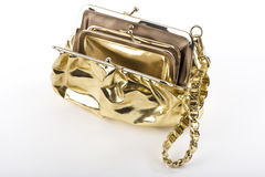 Golden handbag. Golden lady shoulder handbag close up stock photography