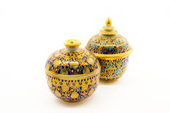 Golden handcraft bowl Royalty Free Stock Photos