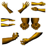 Golden hands 01. Collection of hands. Many different position. See the rest in the series as well Royalty Free Stock Photos