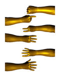 Golden hands 06. Collection of golden hands counting with fingers isolated on a white background. Many different position. See the rest in the series as well Royalty Free Stock Photography