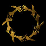 Golden hands in circle. Royalty Free Stock Photo