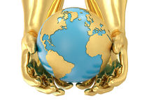 Golden hands and Earth Royalty Free Stock Photo