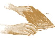 Golden hands on the keyboard Stock Photos