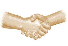 Golden handshake Stock Photo
