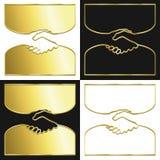 Golden handshake. Variations of a handshake symbol in gold Royalty Free Stock Image