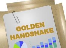 GOLDEN HANDSHAKE concept. 3D illustration of GOLDEN HANDSHAKE title on business document Stock Photography