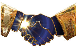 Golden handshake Royalty Free Stock Photography
