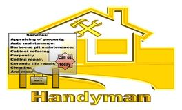 Golden Handyman Office with services offered sign board vector illustration