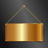 Golden panel. Golden hanging sign panel on black background Royalty Free Stock Photography
