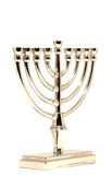 Golden Hannukah Menorah. Isolated on white royalty free stock images