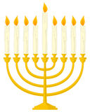 Golden Hanukkah Menorah. A golden nine-branched Hanukkah Menorah (or Hanukiah), isolated on white background. Eps file available royalty free illustration